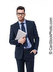 biznesmen, przystojny, praca, tabliczka, cyfrowy