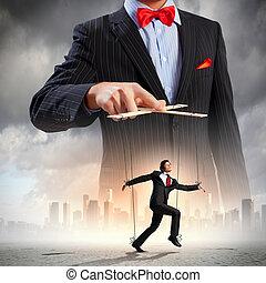 biznesmen, puppeteer