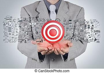 biznesmen, ręka, 3d, tarcza, znak, i, handlowa strategia, jak, pojęcie