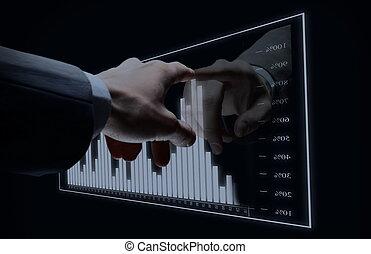 biznesmen, ręka, dotyk, faktyczny, diagram