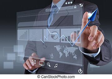 biznesmen, ręka, dotyk, faktyczny, wykres, handlowy