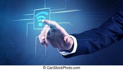 biznesmen, ręka, dotyka, radiowy, wifi, icon.