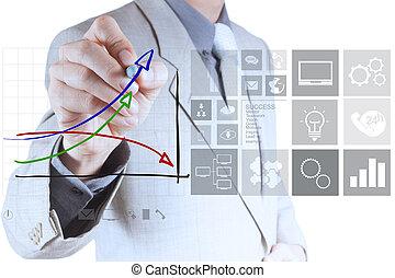 biznesmen, ręka, pociąga, faktyczny, wykres, handlowy