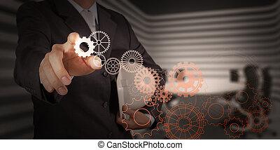 biznesmen, ręka, pociąga, przybory, do, powodzenie