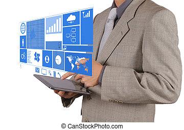 biznesmen, ręka, pracujący, z, nowoczesna technologia
