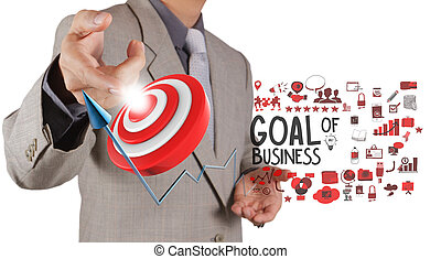 biznesmen, ręka, punkt do, gol, od, handlowy, jak, pojęcie