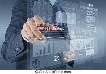 biznesmen, ręka, punkty, do, handlowa strategia