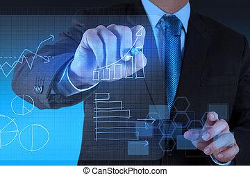biznesmen, ręka, rysunek, faktyczny, wykres, handlowy