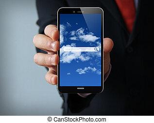biznesmen, rewizja, smartphone, online