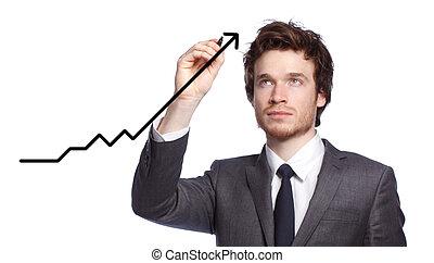 biznesmen, rysunek, niejaki, wykres, -growth