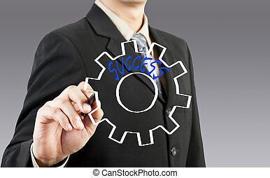 biznesmen, rysunek, przybory, do, powodzenie
