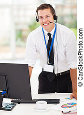 biznesmen, słuchawki