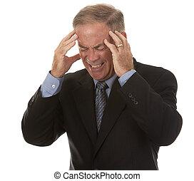 biznesmen, senior, posiadanie, ból głowy