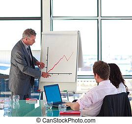 biznesmen, senior, zameldował, prezentacja, zbyt
