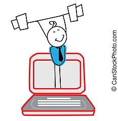 biznesmen, silny, online