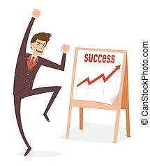 biznesmen, skokowy, powodzenie