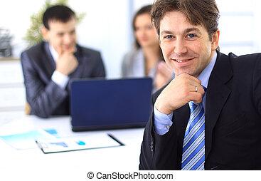 biznesmen, spotkanie, handlowe biuro, młody