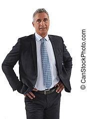 biznesmen, stał, biodra, siła robocza