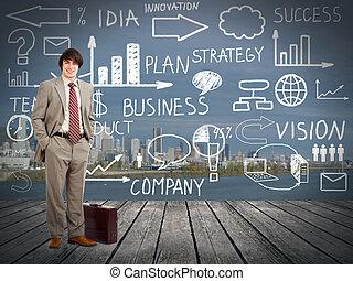 biznesmen, standingnear, innowacja, plan.