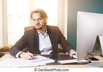 biznesmen, strych, biuro