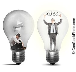 biznesmen, suddenly, na, idea