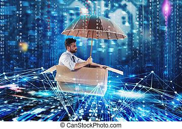 biznesmen, surfing internet, na, niejaki, cardboard., internet, badanie, pojęcie