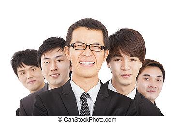 biznesmen, szczęśliwy, handlowy zaprzęg