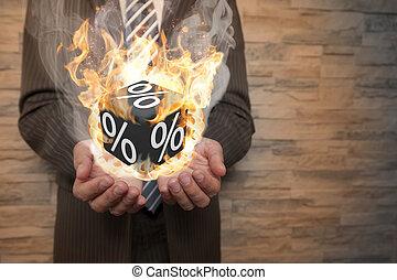 biznesmen, sześcian, procent, płonący, czarnoskóry