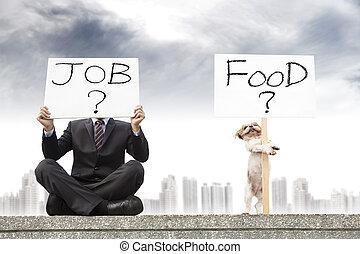 biznesmen, szukając pracę, i, pies, szukając, przedimek określony przed rzeczownikami, jadło