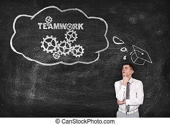 biznesmen, teamwork, myśli, efektywny