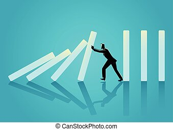 biznesmen, trudny, żeby przestać, skutek domina