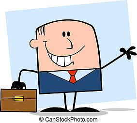 biznesmen, uśmiechanie się