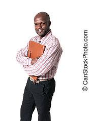 biznesmen, uśmiechnięty szczęśliwy, afrykanin