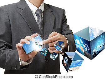 biznesmen, używając, dotknijcie osłaniają, ruchoma głoska, płynący, 3d, wizerunki