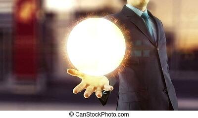 biznesmen, utrzymywać, na, ręka, globalny, cyfrowy, sieć, i, internet, pojęcie