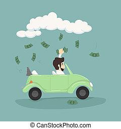 biznesmen, wóz, uchwyt, napędowy, pieniądze