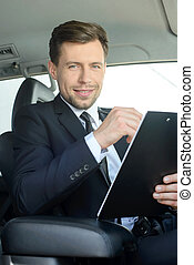biznesmen, wóz