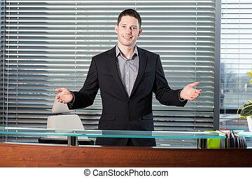 biznesmen, w, biuro