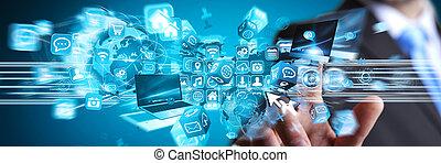 biznesmen, w, jego, biuro, używając, cyfrowy, interfejs