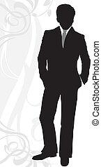 biznesmen, w, klasyczny, garnitur