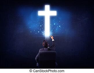 biznesmen, w krześle, z, krzyż, nad, jego, głowa