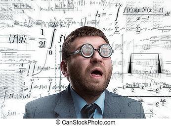 biznesmen, w, okulary