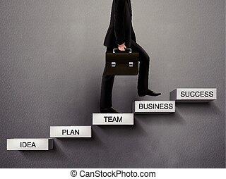 biznesmen, wchodząc, droga, powodzenie