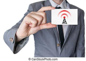 biznesmen, wireless., handlowa karta, dzierżawa