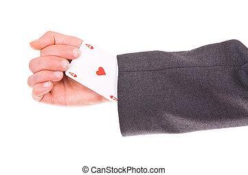 biznesmen, z, as, karta, ukryty, pod, sleeve.