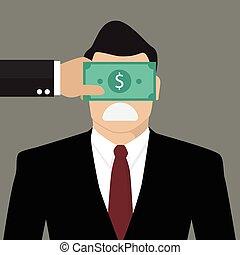 biznesmen, z, dolar, banknot, związywał taśmą, do, oczy