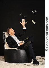 biznesmen, z, dużo, od, pieniądze