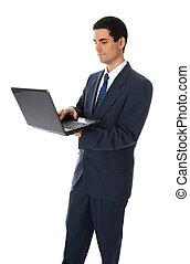 biznesmen, z, laptop