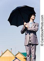 biznesmen, z, parasol