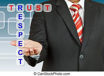 biznesmen, z, sformułowanie, ufność, i, poszanowanie